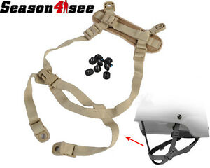 Tactical Airsoft Hunting Retention System H-Nape Strap Gear for MICH Helmet Tan