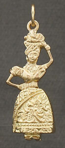 Solid 18K Gold Woman Dancer w Tropical Fruit Basket Articulated Charm Pendant