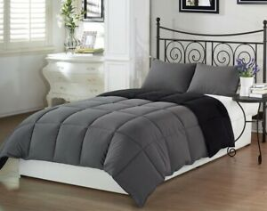 3pcs Super Soft Reversible Down Alternative Comforter Set Queen Size Gray Black