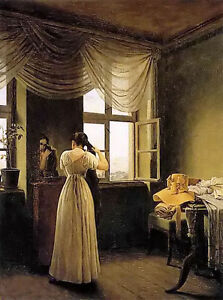 Oil painting georg friedrich kersting - Young female at the mirror in bedroom
