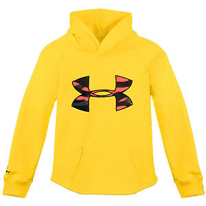 Under Armour Ua Youth Rival Hoodie 1267413-771 Yellow Hoody Boys Big Kids Size S