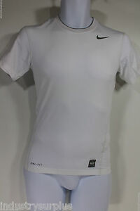 Nike Pro Combat Dry Fit White Compression Base Layer Short Sleeve Shirt