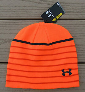 NWT UNDER ARMOUR Golf Mens Knit Winter Beanie Hat-OSFM  Ret$25 ORANGE Stripe