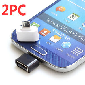 2PC Micro USB Male to USB 2.0 Adapter OTG Converter For Android Tablet Phone