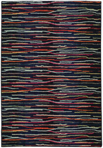 Pantone Universe Midnight Lines Dashes Bars Contemporary Area Rug Floral 3540H