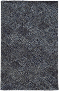 Pantone Universe Blue Contemporary Diamondss Lines Boxes Area Rug Floral 42101
