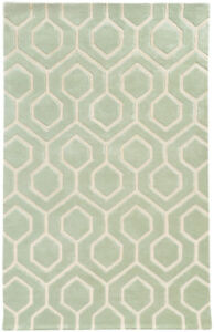 Pantone Universe Green Contemporary Hexagon Lines Area Rug Geometric 41106
