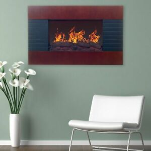 Brown Electric Fireplace with Wall Mount amp; Remote 35 x 22 Inch 1500W