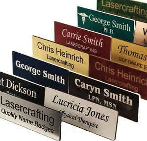 NAME BADGES / TAGS -Personalized Laser-engraved Magnet back or pin Lasercrafting