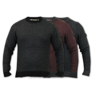 Mens Jumpers Dissident Top Sweater Cable Knitted Crew Neck Pullover Winter New
