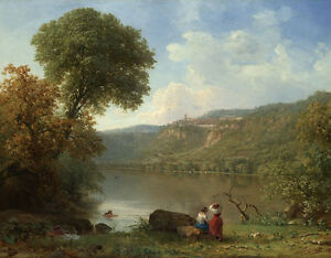Oil painting Lake Nemi by George_Inness young bathers in landscape free shipping