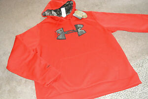 NEW UNDER ARMOUR UA COLDGEAR BIG LOGO RED CAMO HOODIE HOODED SWEATSHIRT MEN'S L!