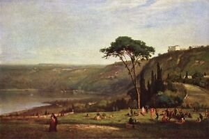 Oil painting George Inness Lake Albano happy figures dancing in landscape canvas