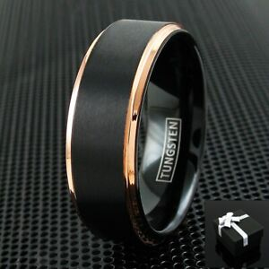 Tungsten Carbide Ring Rose Gold Black Brushed Wedding Band Ring Men's Jewelry TW