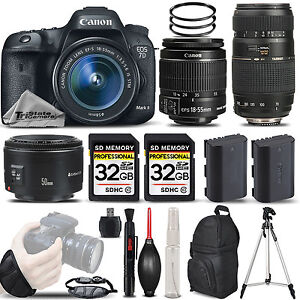 Canon EOS 7D Mark II DSLR Camera + 18-55mm IS STM + 50mm II + 70-300 - 64GB KIT