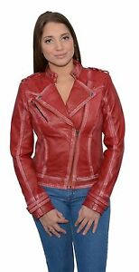 Ladies Red Sheepskin Leather Motorcycle Style Jacket Classic Collar Studding