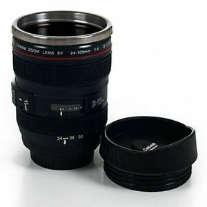 Camera Lens Travel Coffee Cup Stainless Steel Thermos Cup (Set of 4) 12 Oz Mug