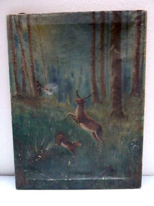 Vintage Painting Artwork Pioneer Hunting Deer in Forest scene. Signed by Artist