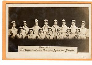 Real Photo Postcard RPPC Norwegian Lutheran Deaconess Home & Hospital Class 1909