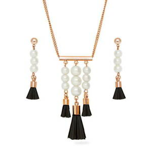 BERRICLE Rose Gold-Tone Imitation Pearl Tassel Fashion Necklace and Earrings Set
