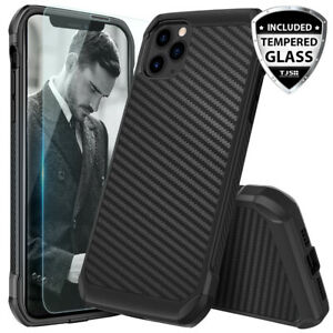 For iPhone 12 11 Pro Max XS XR X 8 7 Plus Carbon Fiber Hard CaseTempered Glass $7.95