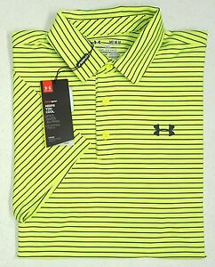 NWT Under Armour UA Heat Gear UPF 30 SS Black Yellow Shirt Mens MD Loose Fit