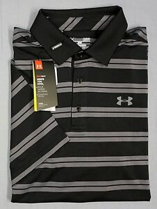 NWT Under Armour UA Heat Gear UPF 30 SS Black Gray Shirt Mens L XL 2XL Loose Fit
