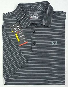 NWT Under Armour UA Golf Heat Gear SS Gray Stripe Shirt Mens XL Loose Fit Grey
