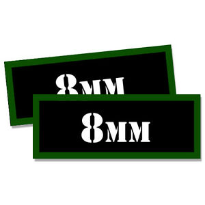 8mm Ammo Can Labels Ammunition Case stickers decals 2 pack 3x1.15inch