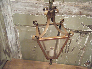 Vintage Solid Brass Light Fixture Ceiling Hanging Antique Patina Glass Period 5