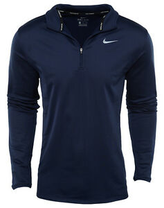 Nike Dri-Fit Thermal Half Zip Mens 683580-410 Navy Running Shirt Apparel Size L