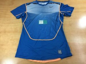 Nike Pro Combat Dri Fit Compression Training Short Sleeve Tee Shirt Blue Size L