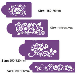 4 Pcs Packed Some Flower Cookie Cake Stencil Decorate Mould Fondant Biscuit Tool