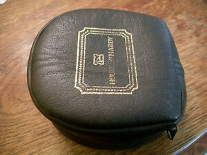 EXTRA LARGE HARDY BLACK SOFT LEATHER FLY REEL CASE - VERY GOOD USED CONDITION