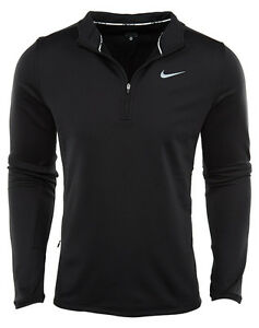 Nike Dri-Fit Thermal Half Zip Mens 683580-010 Black Running Shirt Apparel Size L