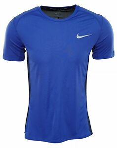 Nike Dry Miler Tee Mens 833591-452 Blue Dri-Fit Running T-Shirt Top Size M