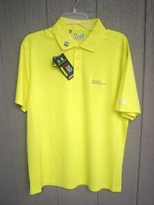 NEW YELLOW UNDER ARMOUR POLO SHIRT LARGE SHULA'S HOTEL AND GOLF CLUB LOGO MIAMI