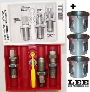 Lee Carbide 3-Die Set 45 ACP 90513 + 3 Quick Change Bushings 90600+90513 New!