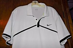 Men's NIKE FIT DRY Polo Size XL Short Sleeve White Navy Athletic Shirt Top Golf
