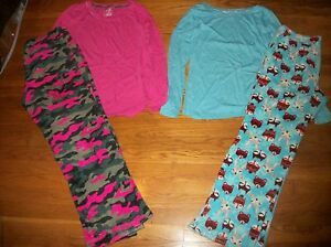 JOE BOXER 2 PC. PJ SET TOP & FLEECE PANTS PAJAMA SET CAMO WOMENS SZ L XL 12 14