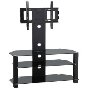 Tempered Glass Black TV Stand Console Media 37