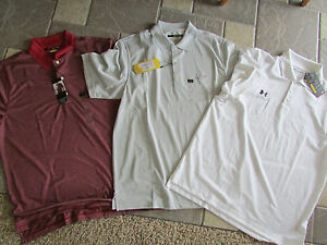 NEW 3 GREG NORMAN SHARK UNDER ARMOUR GOLF POLO SHIRTS MENS L SHORT SLEEVED