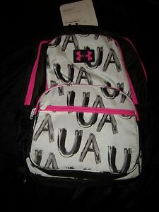 Brand New Girls White Black & Pink Under Armour Bookbag