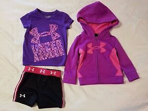 Under Armour Girls toddler 12 months hoodie shirt and shorts