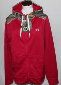 NEW Under Armour Storm1 Zipper Hoodie Jacket Ruby Red w Camo Womens  XL $85