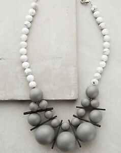 NEW Anthropologie Gray Statement Bib Necklace