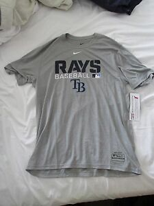 NWT MENS NIKE DRI FIT TAMPA BAY RAYS TEAM GAME ISSUED WORKOUT SHIRT GRAY LARGE !