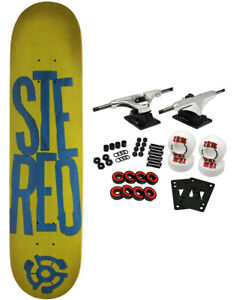 STEREO Complete Pro Skateboard STACKED GREENBLUE 7.5