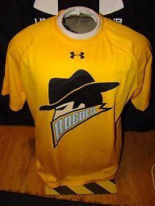 USED MENS UNDER ARMOUR DARK KNIGHT RISES BATMAN GOTHAM ROGUES YELLOW SHIRT LARGE