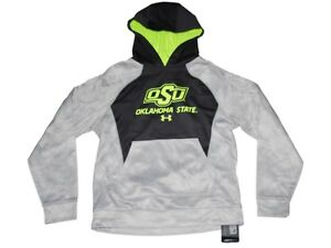 Oklahoma State Cowboys Under Armour Youth Gray Pullover Hoodie Sweatshirt (M)